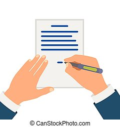 Colored Cartooned Hand Signing Contract Graphic Design on...