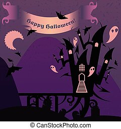 Purple halloween castle with a text banner