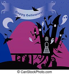 Blue and pink halloween castle with a text banner