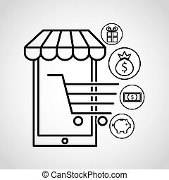 shopping online ecommerce flat icons