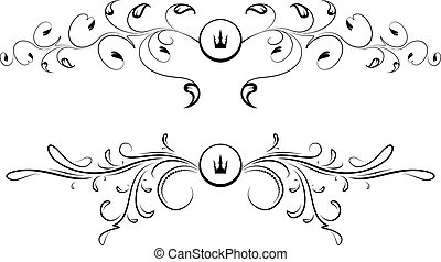 Pair of heraldic designs with crowns.