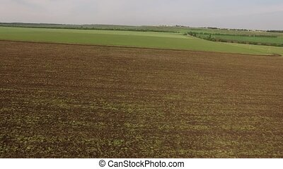Plowed Farm Field Under Grey Sky - AERIAL VIEW. This is a...