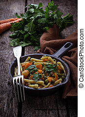 Stew vegetable asparagus, carrot and peas