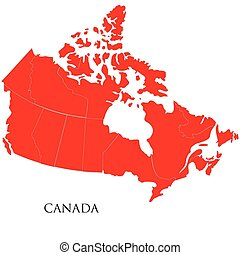 Canadian Map on white background