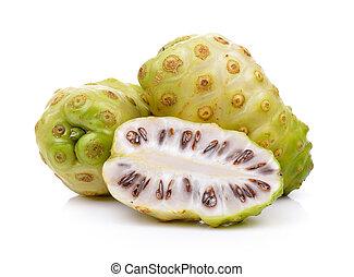 exoticas, fruta, Noni, frutas, ligado, branca, fundo