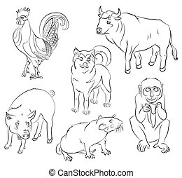 rooster, dog, pig, rat, monkey and ox