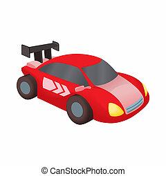 Red race car icon, cartoon style - Red race car icon in...