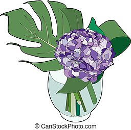 Hydrangea in a vase - Vector illustration of a hydrangea,...