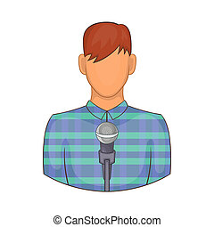 Young man with microphone icon, cartoon style - icon in...