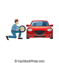 Mechanic changing wheel on red car icon