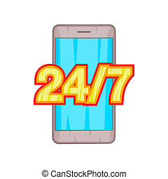 24 7 phone support icon, cartoon style