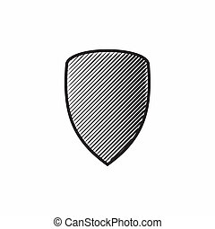 Shield icon, simple style - Shield icon in simple style...