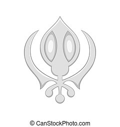 Sikhism symbol icon in cartoon style - icon in cartoon style...