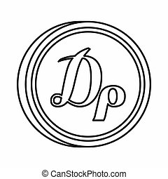 Greek drachma sign icon, outline style - Greek drachma sign...