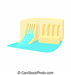 Water dam icon, cartoon style - Water dam icon in cartoon...