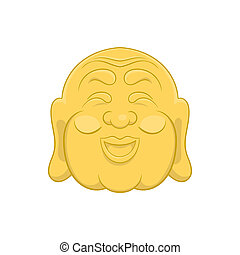 Budha head icon, cartoon style - icon in cartoon style on a...
