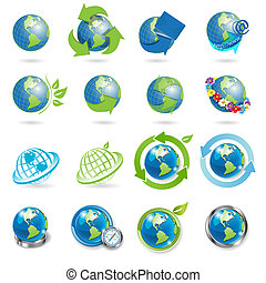 icons globe - sixteen icons of the globe on white background...