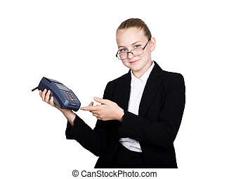 young girl in a business suit, offers e-card to pay for...