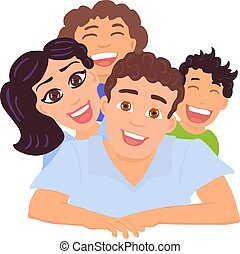 Happy family dad, mom, daughter and son. Vector