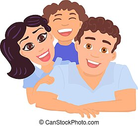 Happy family father, mom and daughter. Vector Illustration