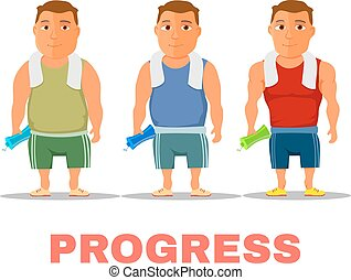 Cartoon guy fit progress, after work out, with towel and...