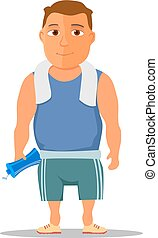 Cartoon guy after work out, with towel and water bottle....