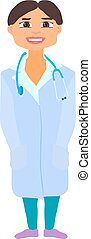 Medical Woman Cartoon Character Flat Design. Vector