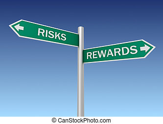risks rewards road sign 3d concept illustration on sky...