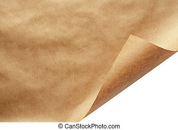 Sheet of craft paper with curled corner