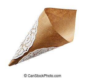 Empty craft paper cornet isoaletd on white