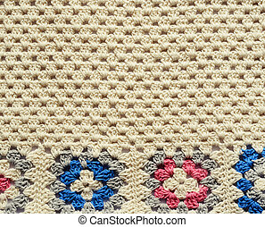 Crochet texture with square motives for craft background