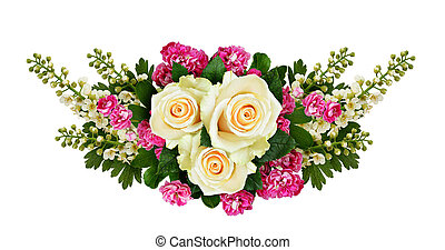 Roses, bird-cherry tree flowers and hawthorn flowers...