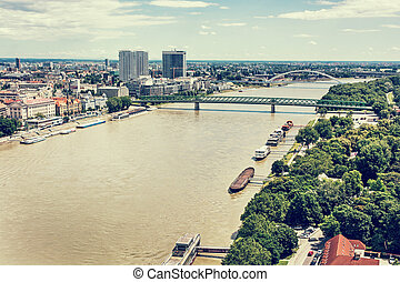 Bridges over the Danube river in Bratislava city, Slovakia,...