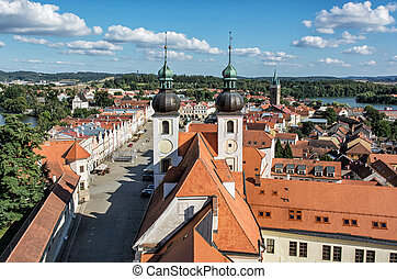 Telc town with Church of the holy name of Jesus,...