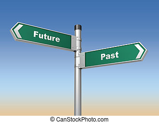 future past road sign 3d concept illustration on sky...