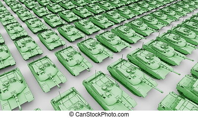 Many green American army tanks, aerial view cartoon animation. Seamless loopable 4K clip