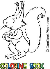 Coloring book of lttle funny squirrel