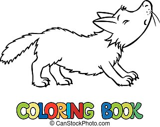 Coloring book of lttle funny wolf