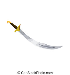 Turkish scimitar icon, cartoon style - icon in cartoon style...