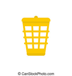 Yellow garbage basket icon, flat style - Yellow garbage...