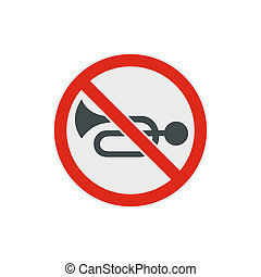 No horn traffic icon, flat style - No horn traffic icon in...