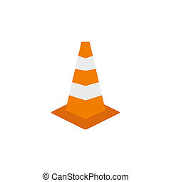 Road sign cone icon, flat style - Road sign cone icon in...