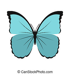 Blue butterfly icon in flat style - icon in flat style on a...