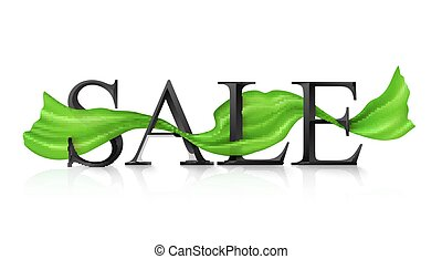 Black vector SALE sign with green silky ribbon trough it -...