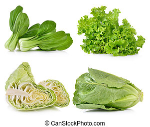 cabbage ,cos, lettuce, Bok choy on white background
