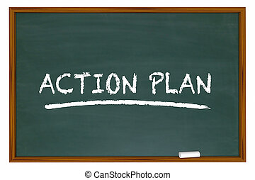 Action Plan Strategy Tactics Chalkboard 3d Illustration