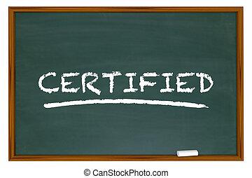 Certified Word Chalkboard Learning Certification 3d Illustration