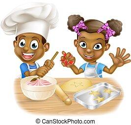 Cartoon Kid Chefs Cooking - Cartoon black boy and girl...
