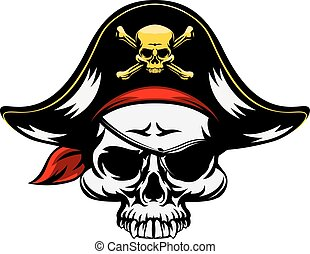 Pirate Skull - A pirate Skull wearing a tricorn hat and an...