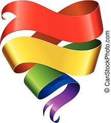 Vector rainbow ribbon in the shape of heart